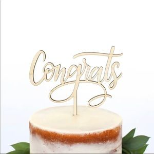 Congrats Wooden Cake Topper